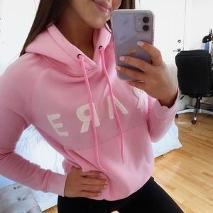 PINK AND WHITE SOFT SEAFOAM HOODIE XS